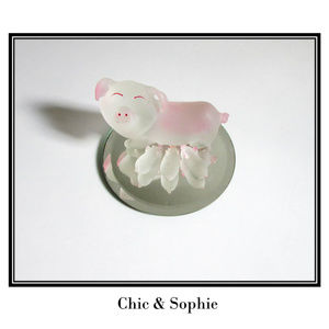 Glass Mother Pig Baby Piglets Mirror Figurines